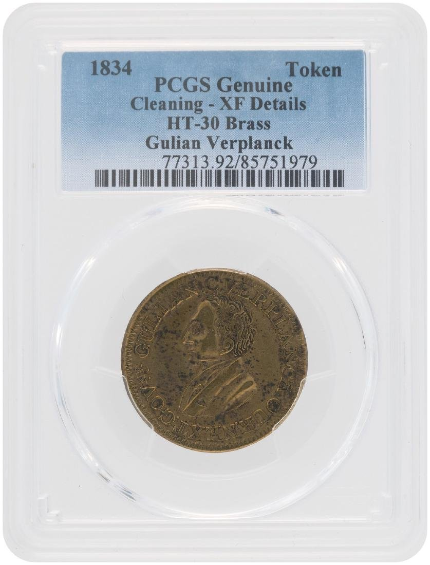 VERPLANCK/GOV. NY MEDAL DeWITT CE 1834-4 AND PCGS GRADED AS CLEANED W/XF DETAILS.