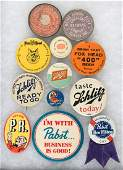 BEER EARLY MIRRORS (2) AND TEN BUTTONS FOR FOX HEAD, SCHLITZ, PABST & OTHERS.