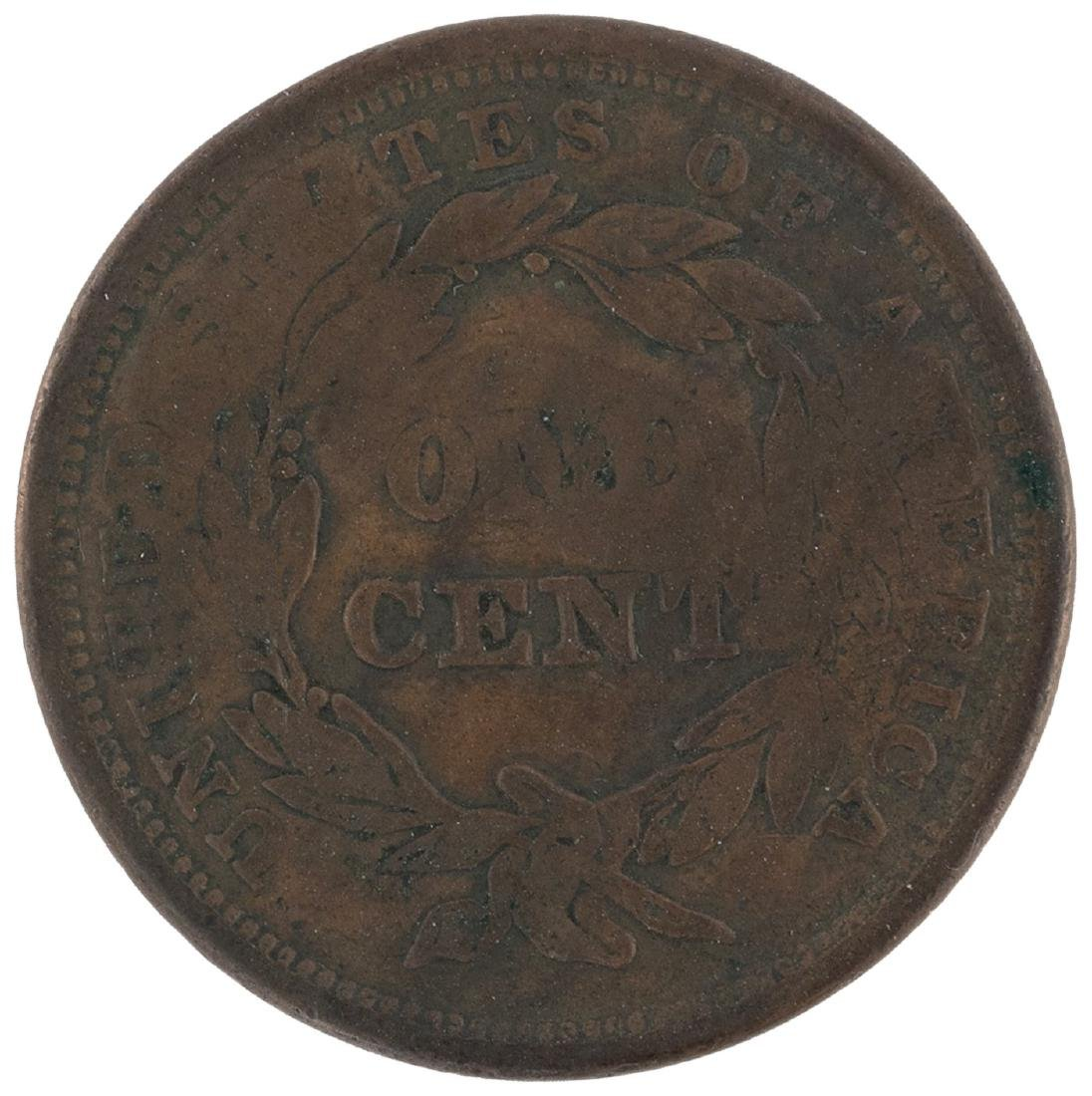 """VOTE THE LAND FREE"" 1844 OR 1848 COUNTERSTAMPED SLOGAN ON U.S. LARGE CENT."