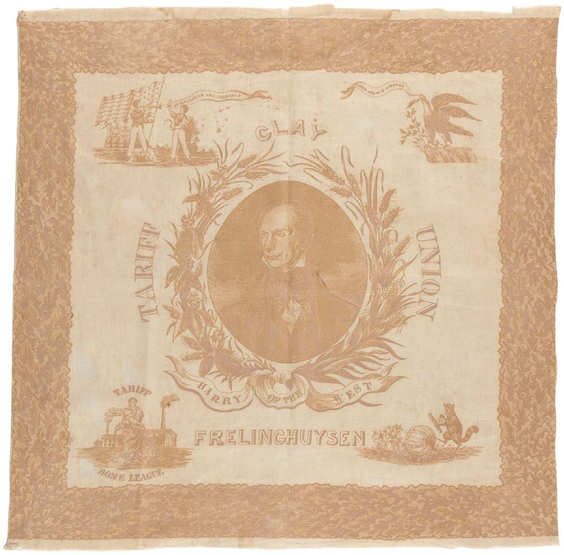 "OUTSTANDING HENRY CLAY ""HARRY OF THE WEST"" PORTRAIT BANDANA WITH POWERFUL CAMPAIGN MOTIFS."