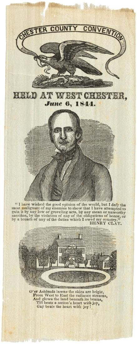 """HENRY CLAY """"CHESTER COUNTY CONVENTION"""" PORTRAIT RIBBON HC-35."""