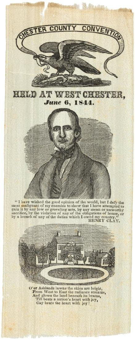 "HENRY CLAY ""CHESTER COUNTY CONVENTION"" PORTRAIT RIBBON HC-35."