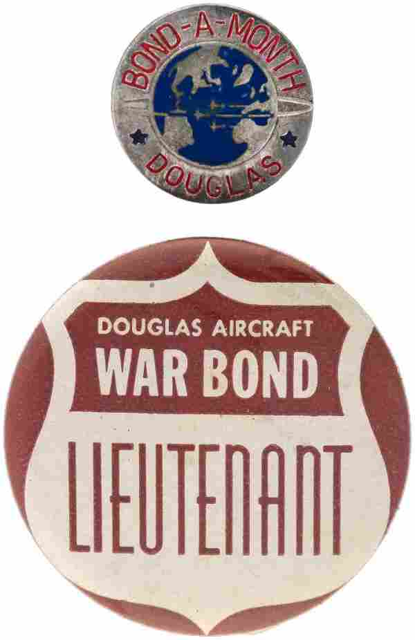 DOUGLAS AIRCRAFT THREE RARE IN-HOUSE WAR BOND ITEMS INCLUDING AWARD.