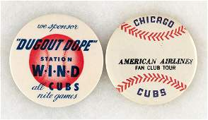 CUBS RARE LATE 40s RADIO AD BUTTON PLUS RARE AMERICAN AIRLINES FAN CLUB TOUR