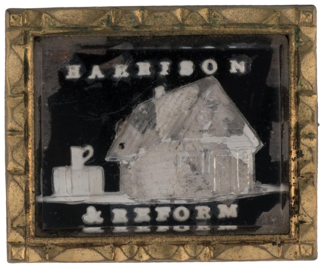 """HARRISON & REFORM"" 1840 SULPHIDE LOG CABIN BROOCH WITH ORIGINAL PIN HAKE #3105"