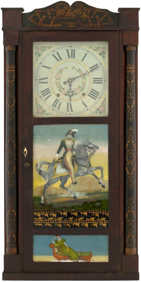 "MANTEL CLOCK WITH EXCEPTIONAL ""GEN. ANDREW JACKSON"" REVERSE PAINTED GLASS PANEL."