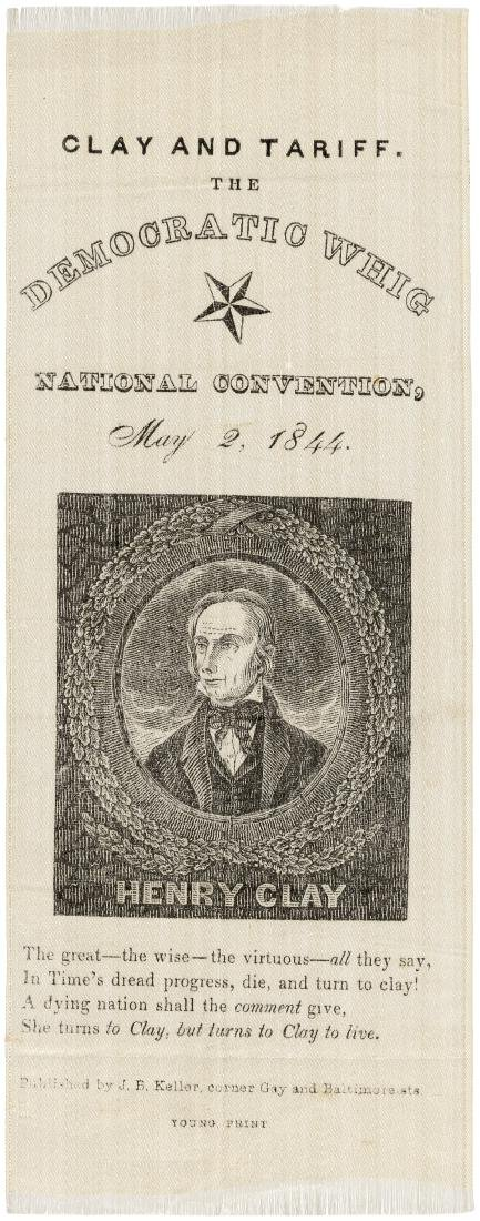"HENRY CLAY ""DEMOCRATIC WHIG NATIONAL CONVENTION"" PORTRAIT RIBBON."