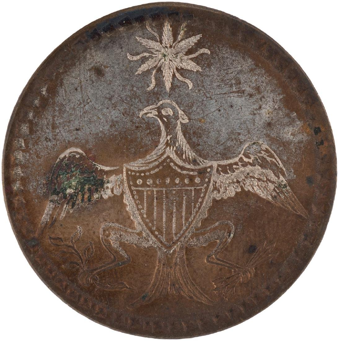 WASHINGTON 1789 INAUGURAL SILVERED COPPER CLOTHING BUTTON WITH SHANK INTACT.