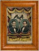 PRIZED LINCOLNHAMLIN 1860 CURRIER GRAND NATIONAL BANNER JUGATE PRINT