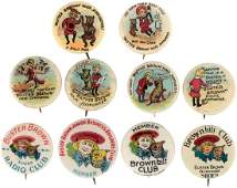 """BUSTER BROWN SIX SECOND SERIES HOSE SUPPORTER BUTTONS & FOUR """"CLUB"""" BUTTONS."""