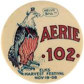 """""""HELLO BILL"""" BRYAN/TAFT INSPIRED POST 1908 ELECTION BUTTON WITH CARTOON EAGLE AS UNCLE SAM."""