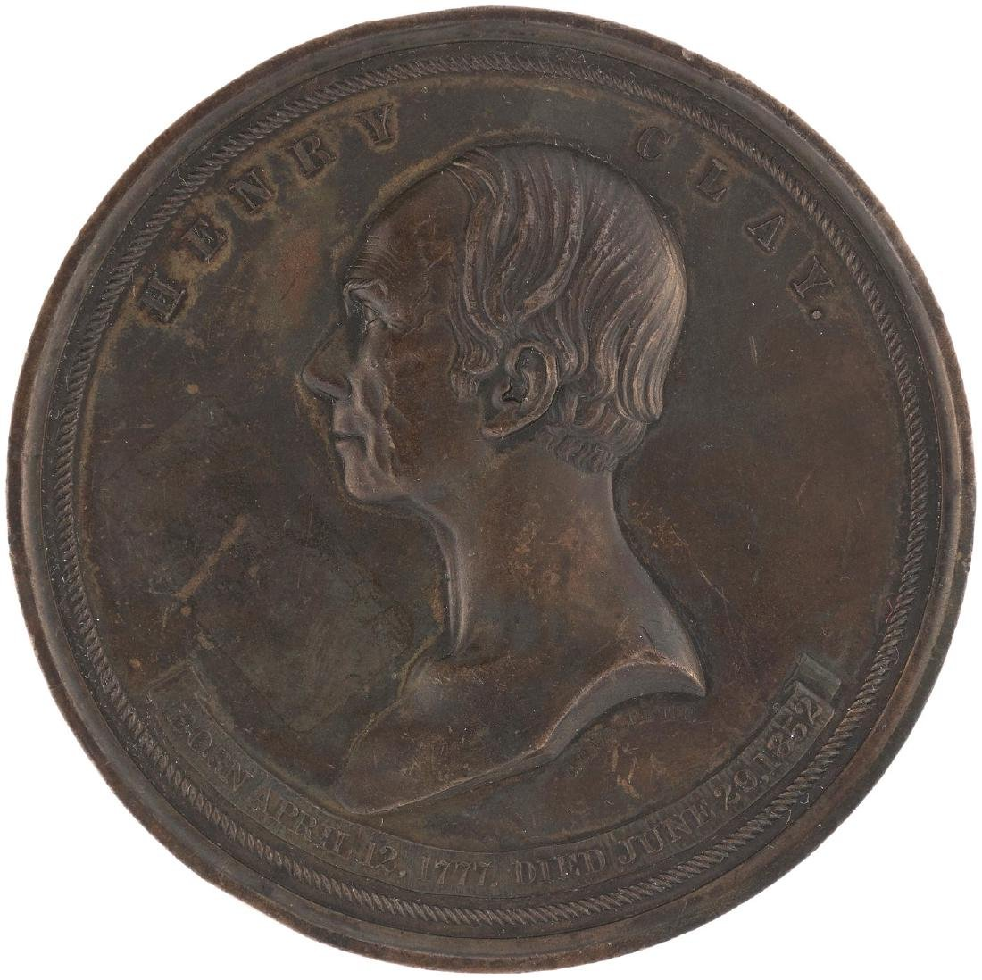 HENRY CLAY 1852 LARGE BRONZE MEDAL BY ENGRAVER C.C. WRIGHT STRUCK BY THE U.S.MINT.