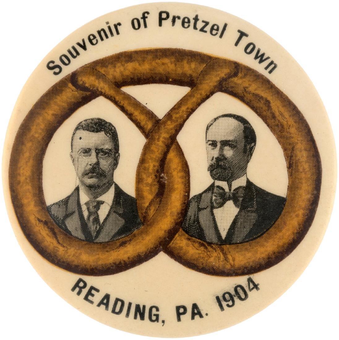 "ROOSEVELT/FAIRBANKS ""SOUVENIR OF PRETZEL TOWN READING, PA"" JUGATE BUTTON HAKE #5."