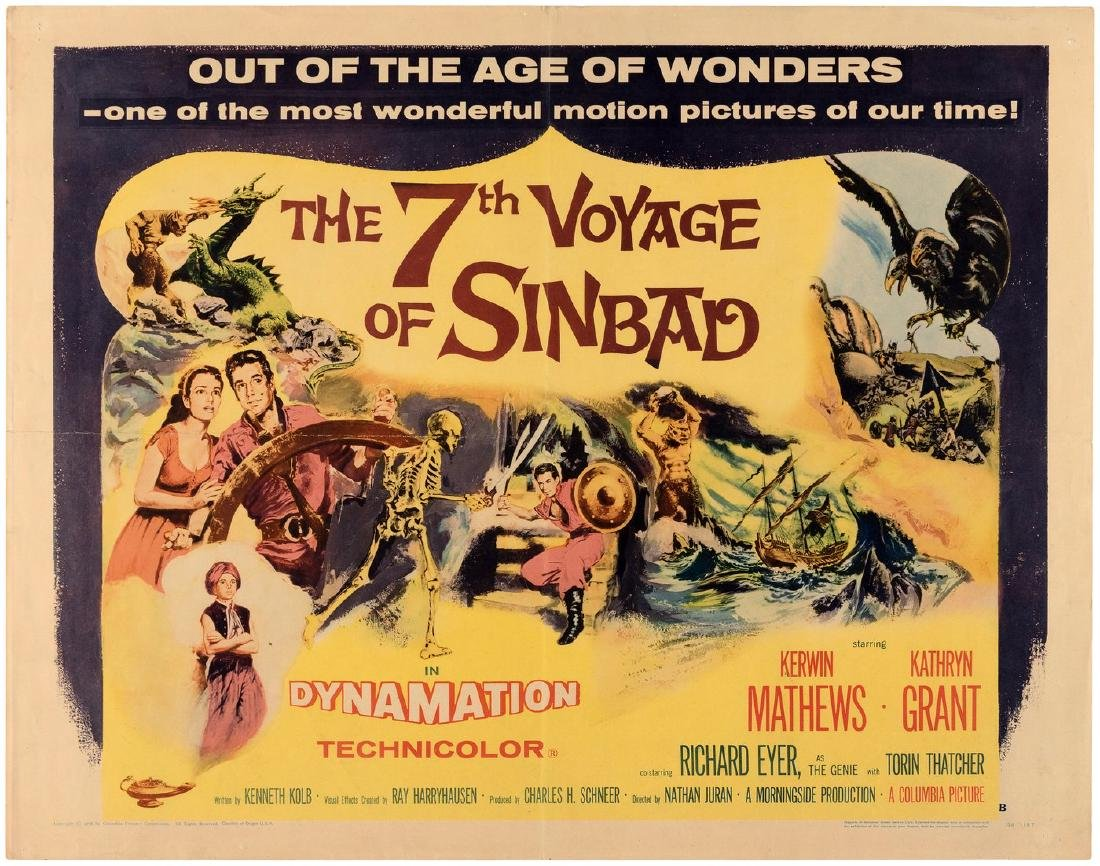 """THE 7TH VOYAGE OF SINBAD"" HALF-SHEET MOVIE POSTER (STYLE B)."