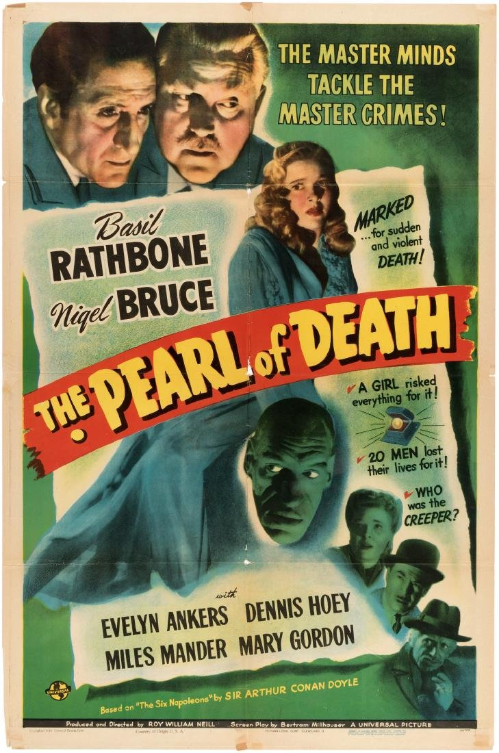 "BASIL RATHBONE SHERLOCK HOLMES ""THE PEARL OF DEATH"" MOVIE POSTER."