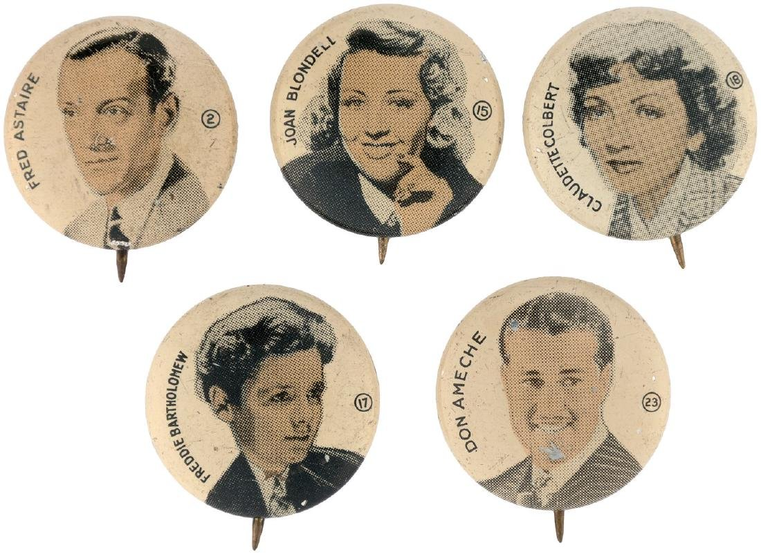 MOVIE STARS FIVE SCARCE BUTTONS FROM 1930s SET.