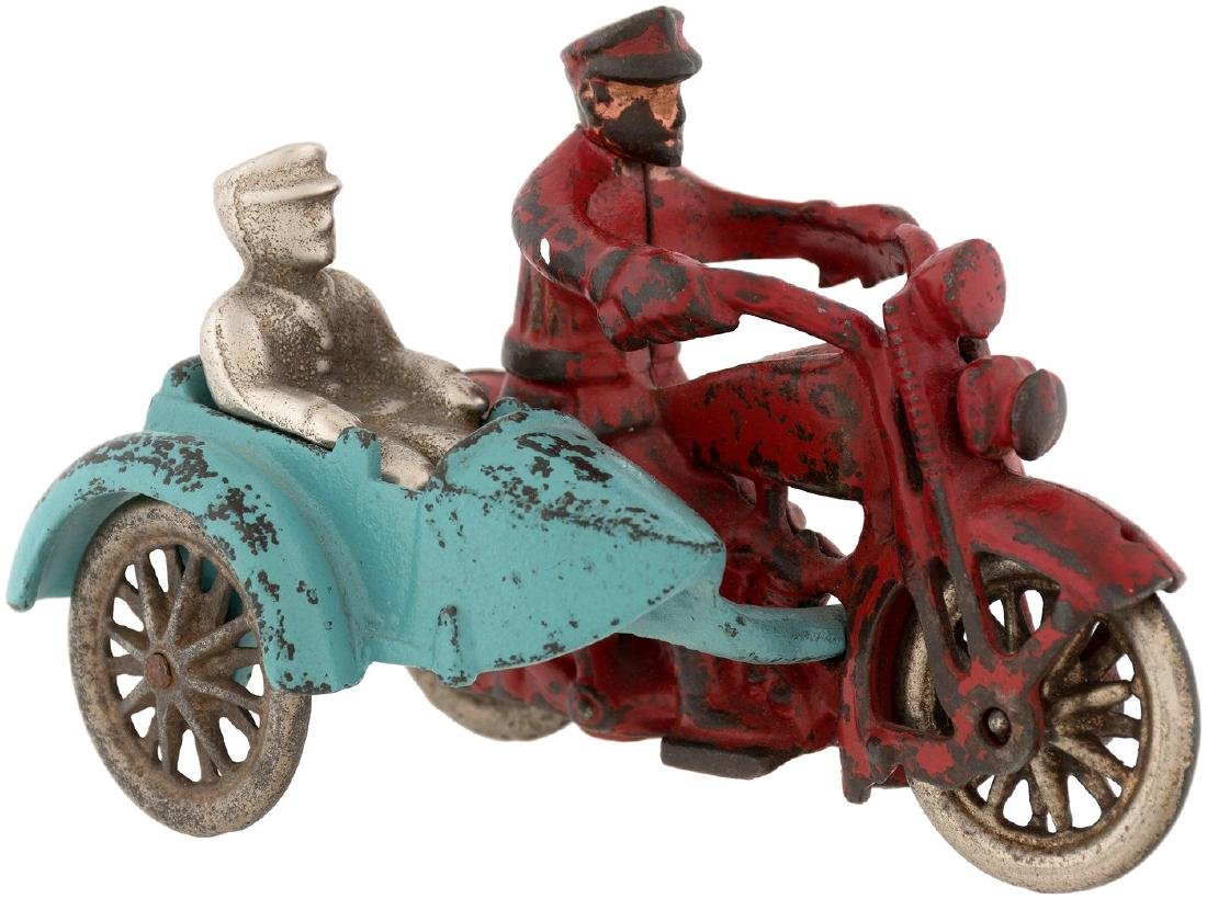 HARLEY-DAVIDSON HUBLEY CAST IRON POLICE MOTORCYCLE WITH SIDECAR & PASSENGER.