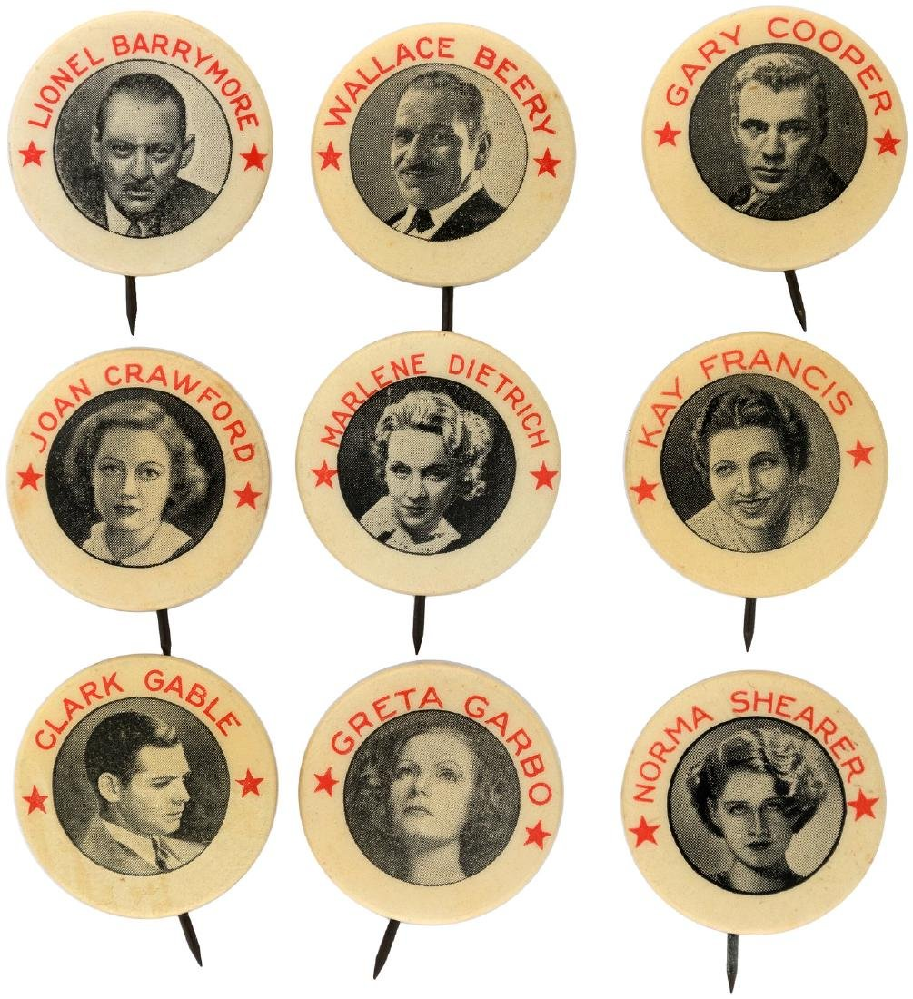 MOVIE STARS 9 OF 11 BUTTONS ISSUED IN 1930s BY PENDER BREADS, NORFOLK, VA.