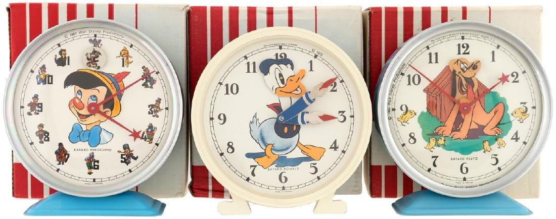 PINOCCHIO, PLUTO & DONALD DUCK BOXED BAYARD ALARM CLOCK TRIO.