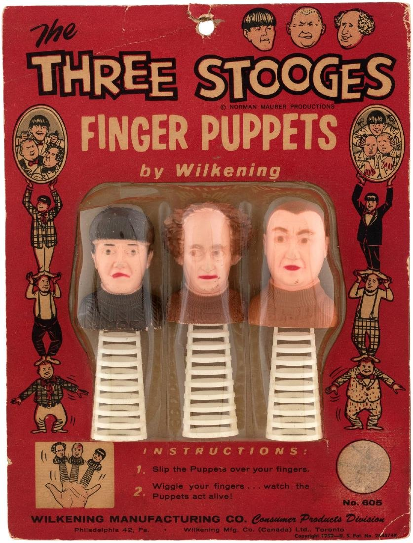 """THE THREE STOOGES FINGER PUPPETS"" CARDED SET."