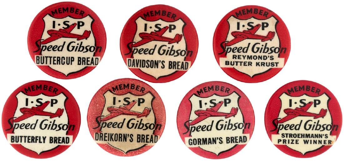 SPEED GIBSON SEVEN CLUB MEMBER 1937 BUTTONS WITH THREE UNLISTED IN HAKE'S GUIDE.