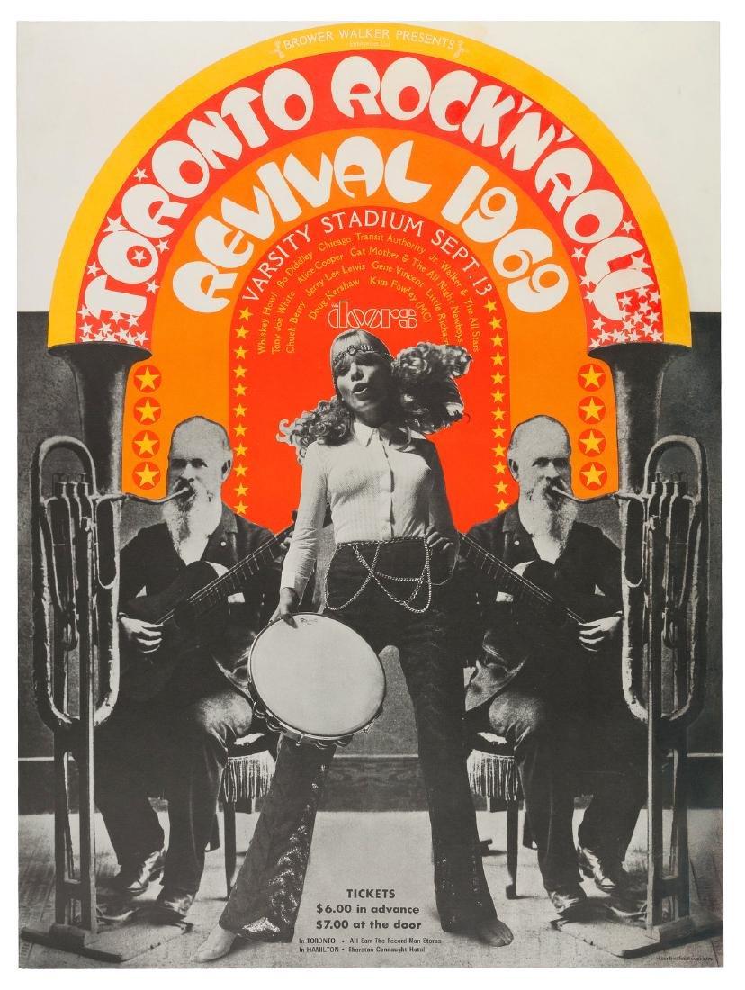 """TORONTO ROCK'N'ROLL REVIVAL"" CONCERT POSTER - THE DOORS, CHUCK BERRY, JOHN LENNON & ERIC CLAPTON."