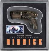 CHRONICLES OF RIDDICK PROP PISTOL WEAPON IN DISPLAY CASE