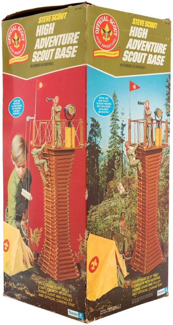KENNER STEVE SCOUT HIGH ADVENTURE BASE AND SEARCH FOR THE SPANISH GALLEON BOXED PAIR.