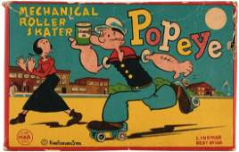 """""""POPEYE MECHANICAL ROLLER SKATER"""" BOXED LINEMAR WIND-UP TOY."""
