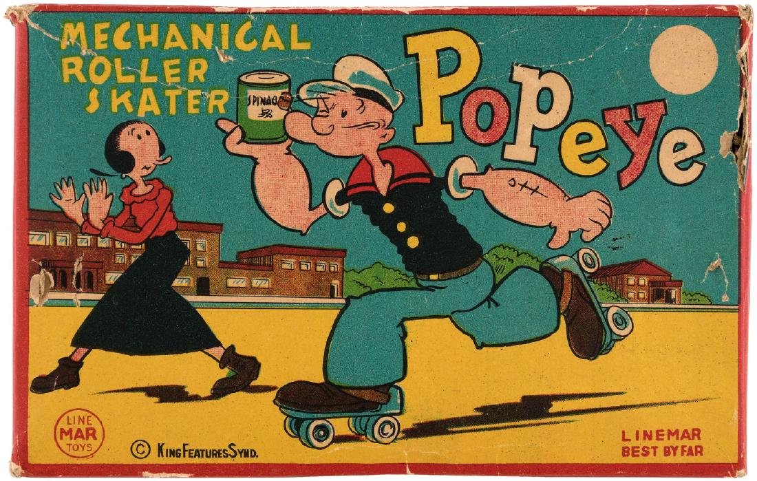 """POPEYE MECHANICAL ROLLER SKATER"" BOXED LINEMAR WIND-UP TOY."