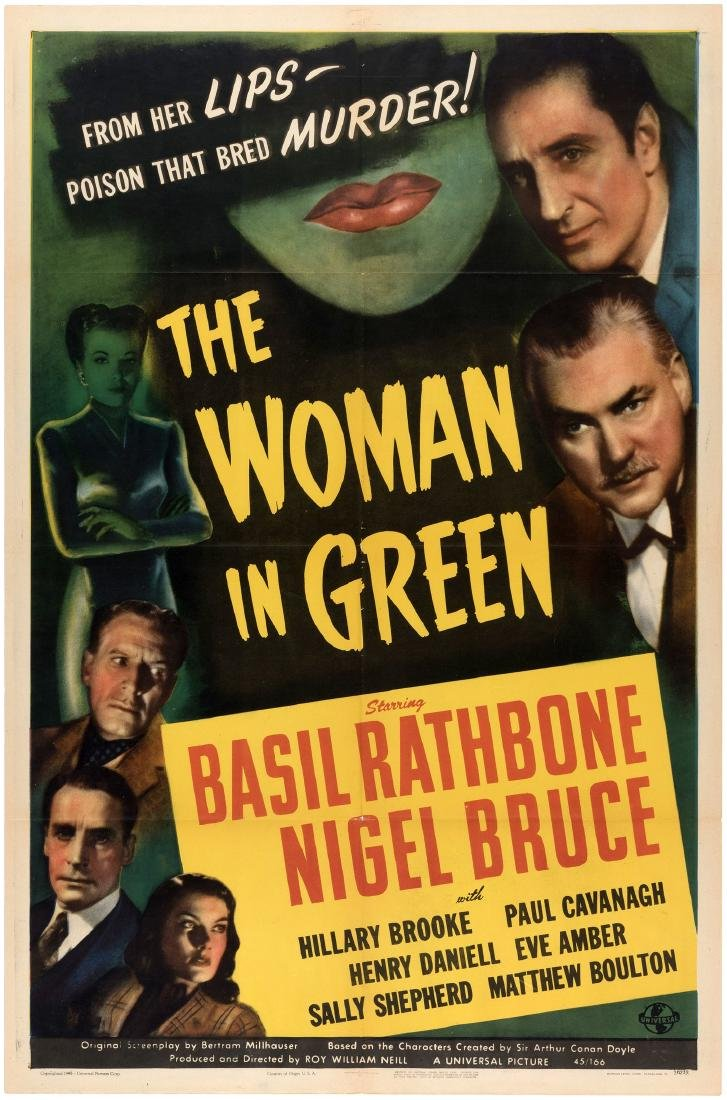 "BASIL RATHBONE SHERLOCK HOLMES ""THE WOMAN IN GREEN"" MOVIE POSTER."