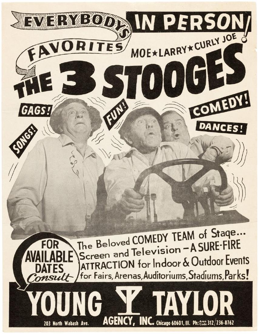 """THE 3 STOOGES"" PERSONAL APPEARANCE PROMOTIONAL SHEET."