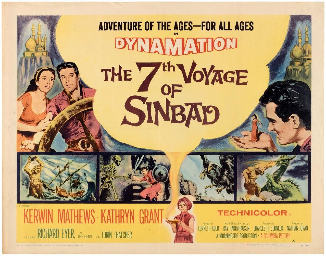 """THE 7TH VOYAGE OF SINBAD"" HALF-SHEET MOVIE POSTER (STYLE A)."