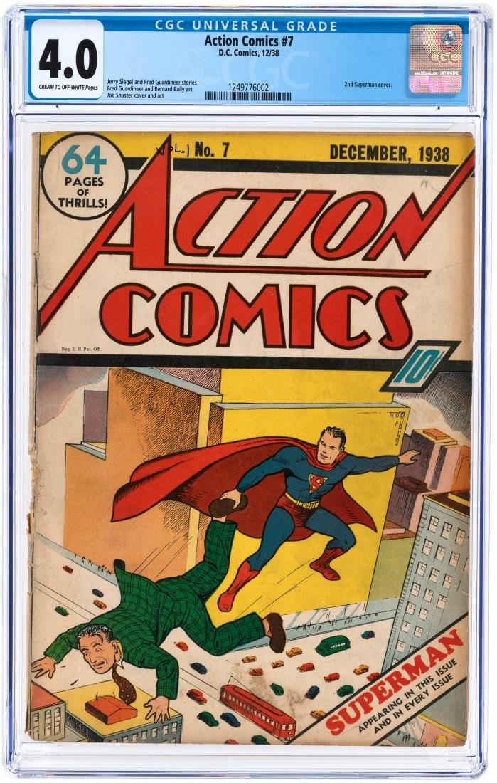 """ACTION COMICS"" #7 DECEMBER 1938 CGC 4.0 VG (SECOND SUPERMAN COVER)."