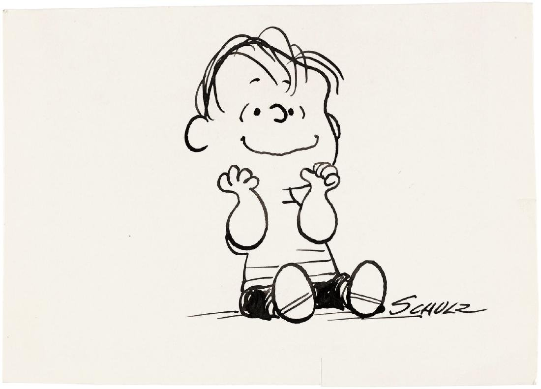 "CHARLES SCHULZ ""PEANUTS"" LINUS BUTTERNUT BREAD ADVERTISING ORIGINAL ART."