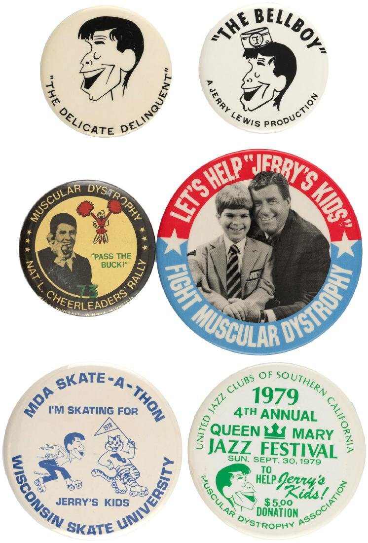 JERRY LEWIS SIX SCARCE BUTTONS FOR EARLY MOVIES & JERRY'S KIDS FUND RAISER.