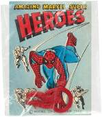 """""""AMAZING MARVEL SUPER HEROES"""" VERY RARE MACMAN SAMPLE LABEL AND SPIDER-MAN FLEXI-RING."""