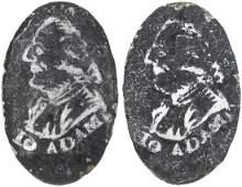 IMPORTANT JOHN ADAMS PORTRAIT CUFF BUTTONS PAIR C. 1796