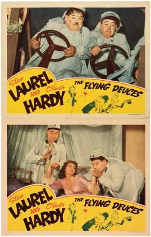 LAUREL HARDY THE FLYING DEUCES LOBBY CARD PAIR