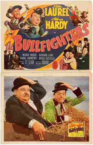 LAUREL HARDY THE BULLFIGHTERS LOBBY CARD PAIR