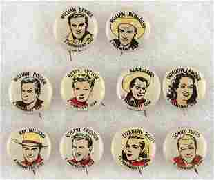 CANADIAN ISSUED 10 OF 12 KNOWN MOVIE STAR BUTTONS C