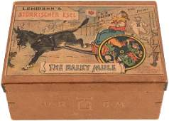 """LEHMANN """"THE BALKY MULE"""" BOXED WIND-UP CLOWN CART."""