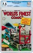 """WORLD'S FINEST COMICS"" #13 SPRING 1944 CGC 7.5 VF-."