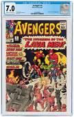 """AVENGERS"" #5 MAY 1964 CGC 7.0 FINE/VF."