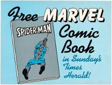 MARVEL COMICS TIMES HERALD NEWSPAPER SIGN FEATURING