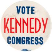 """IMPORTANT """"VOTE KENNEDY CONGRESS"""" BUTTON FROM JFK'S"""