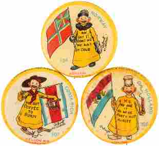 YELLOW KID FLAG SERIES BUTTON TRIO C 1897 FROM HIGH
