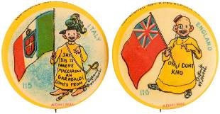 YELLOW KID FLAG SERIES BUTTONS FOR ITALY AND ENGLAND C