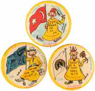 YELLOW KID FLAG SERIES BUTTONS C 1897 FOR TURKEY