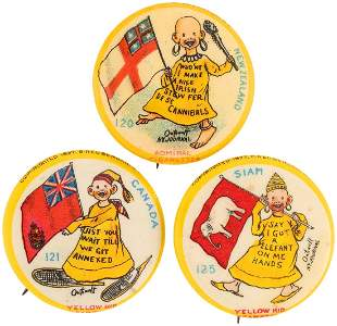 YELLOW KID THREE FLAG SERIES BUTTONS C 1897